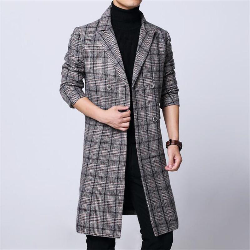 2020 Winter Trenchcoat Männer Fashio Business Casual Langüberzug Männer Heißer Verkauf Wollmantel Dicke Herrenbekleidung Größe 6XL Jacken