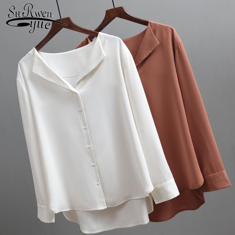 2020 Moda Uzun Kollu Şifon Bluz Kadınlar Kahverengi Beyaz Gömlek Tunik Kadınlar Için Ofis Tarzı Ipek Gömlek Kadın Bluz 5104