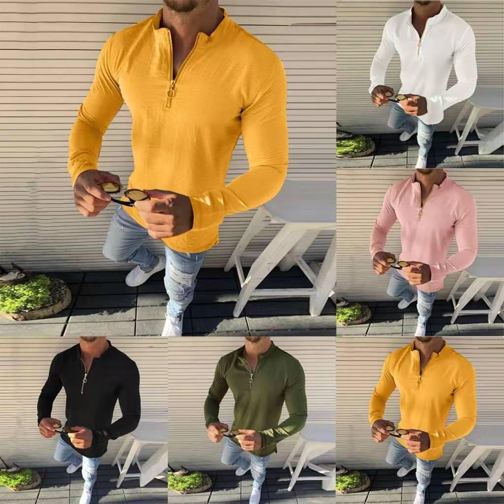 Mens Slim Fit V Neck manga comprida Muscle t-shirt Tops Casual Blusa Sólidos Zipper Fique Collar Masculino Camisetas