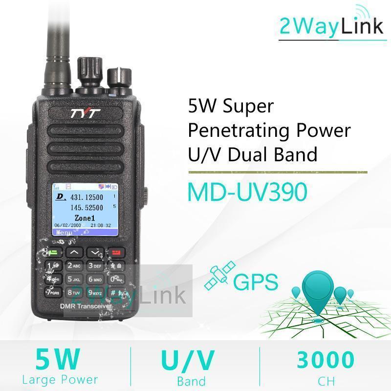 Walkie Talkie Digital Radio TYT MD-UV390 DMR GPS Waterproof IP67 Upgrade Of MD-390 MD UV390 Dual Band VHF UHF 5W1