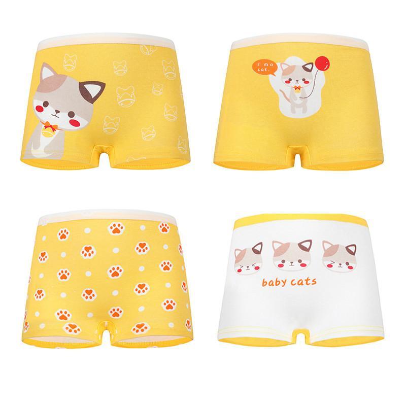4Pcs/lot New Panties for Girl 2-12Y Soft Cotton Children Underwear Cute Cartoon Girls Boxer Briefs Pantie Kids Clothing
