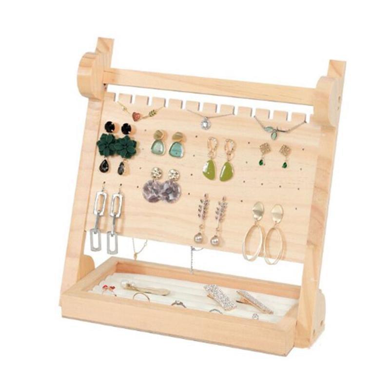 Schmuck Organizer Holz Grund Aufbewahrungsbox - 3 Tier Schmuck Ständer für Halsketten-Armband-Ohrringe / Ring Tray Weiß