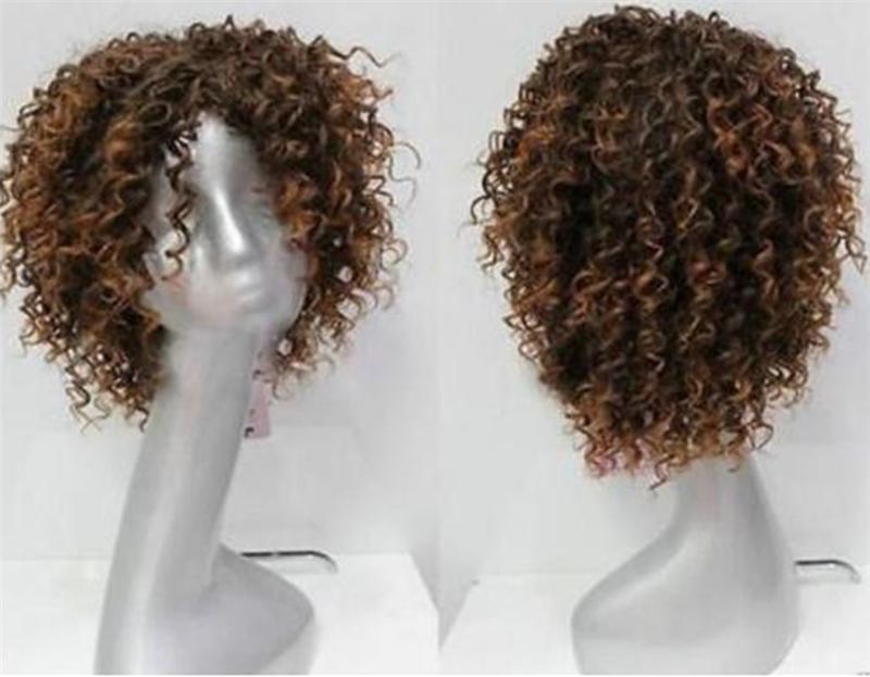 Yeni Moda Charm Kadın Kısa Kahverengi Doğal afro kıvırcık sentetik saç + kap perukları