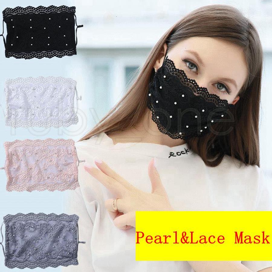 Máscaras de diseñador de moda de fábrica de encaje Máscaras ajustables de perlas anti-polvo con máscara de seda de hielo reutilizables para adultos 4 co Pvgwx