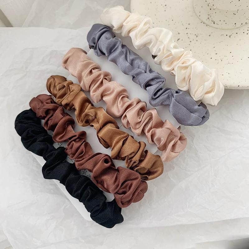 newHair Scrunchie Hairbands del legame dei capelli delle donne per i titolari accessori Satin Hair Scrunchies Stretch Coda di cavallo a mano regalo Heandband
