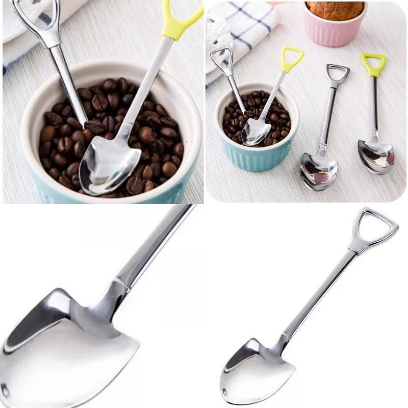 Shovel figura cucchiaio forchetta in acciaio inox caffè multicolor mescolare cucchiai eco amichevole moda vendita calda 2 3GD2 uu