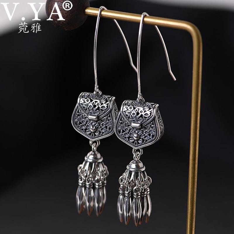 V.YA S925 argent sterling Hollwed Tassel Boucles d'oreilles pendantes femme rétro Tassel Dangle Boucles d'oreilles femmes Sachet Bijoux élégant cadeau