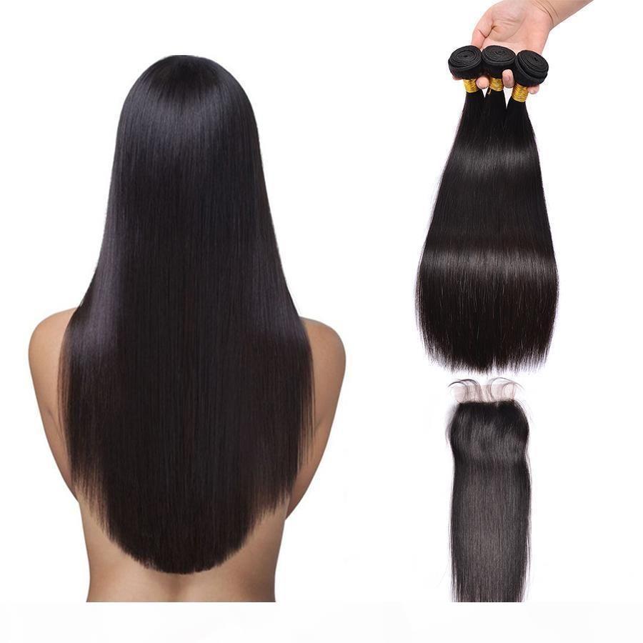 El cabello humano recto brasileño teje extensiones 3 paquetes con cierre Free Middle Part Double Themh 100g PC