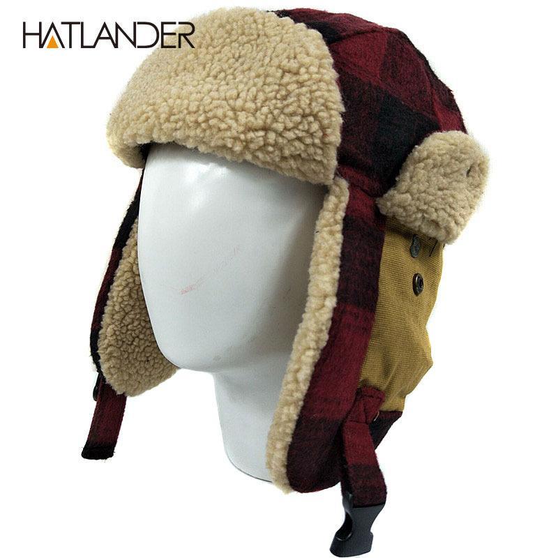 [HATLANDER] في الهواء الطلق قبعة earflap القبعات مفجر للرجال والنساء سميكة الروسية Ushanka البربرية التزلج طيار جندي الثلوج الصوف في فصل الشتاء قبعة 201109