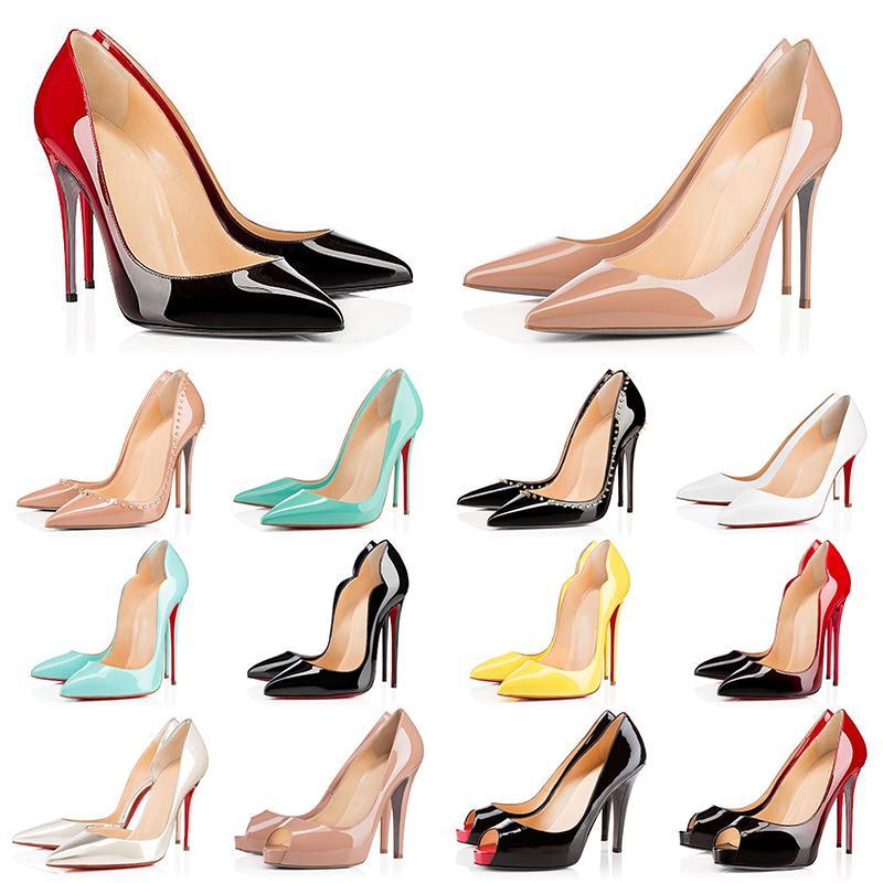 Kutu ile Red Bottom Heels 2021 Spikes Vintage Kadın Elbise Ayakkabı Yuvarlak Sivri Burun Dipleri Yüksek Topuklu Lüks Marka Tasarımcısı Sneakers