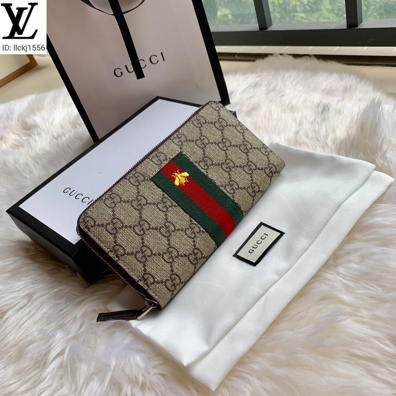 llckj1556 EFNJ llckj1556 408831 красный и зеленый ленты вышивка небольшие пчелы молния бумажник мужчины реальная кожа Длинный кошелек ЦЕПИ бумажники компактное Р