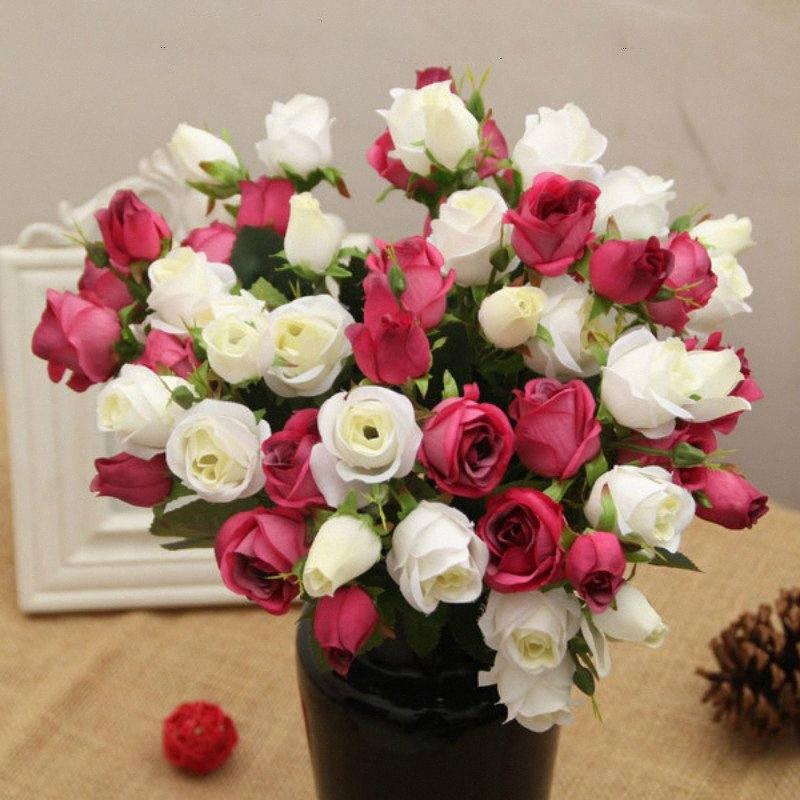 15 Heads White Red Milticolors Silk Rose Artificial Flowers Real Touch Rose Flowers Decor DIY Home Decorations for Wedding Party Rnvs#