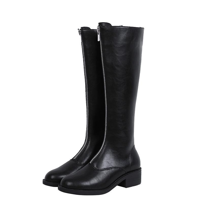 Inverno Queda Mulheres Botas Joelho-Front Zip Design Senhoras Botas Botas Mujer Moda Couro Black White Plus Size 35-43