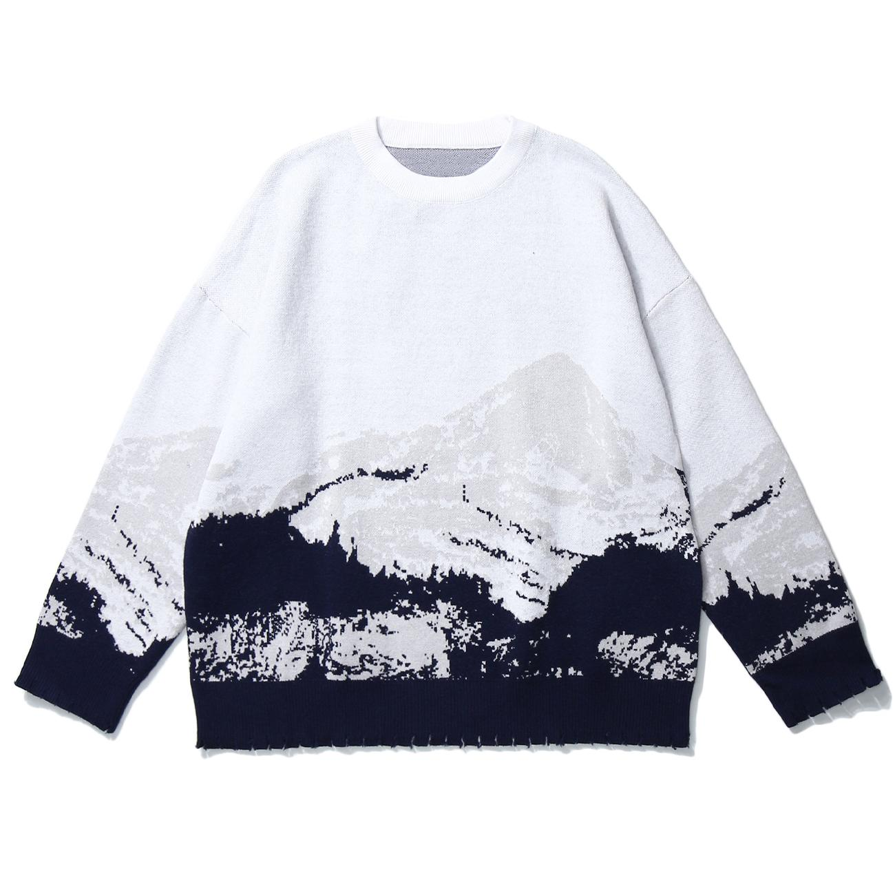 Snow Mountain Men Knitted Sweater Harajuku Men Clothing Hip Hop Pullover Men Streetwear Sweater Oversize Loose Knitwear 201221