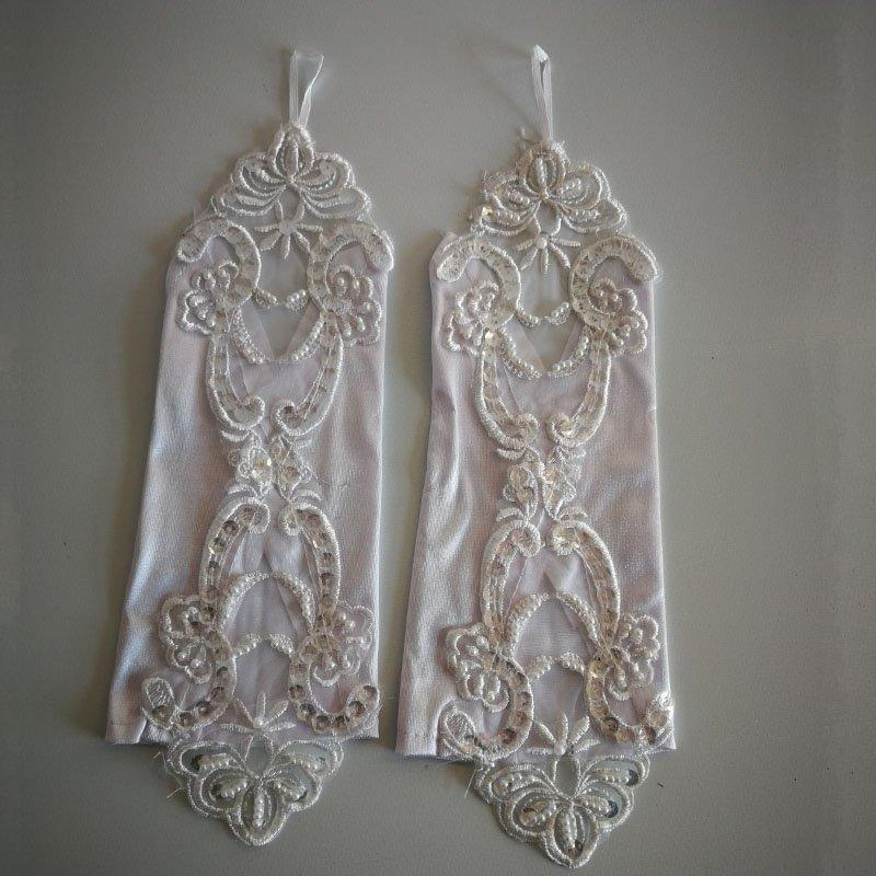 Stock Sale Cheap Women Banquet Party Fingerless Elegant Lace Embroidered Wedding Gloves Rekawiczki Biale Barato St033 H sqcwff