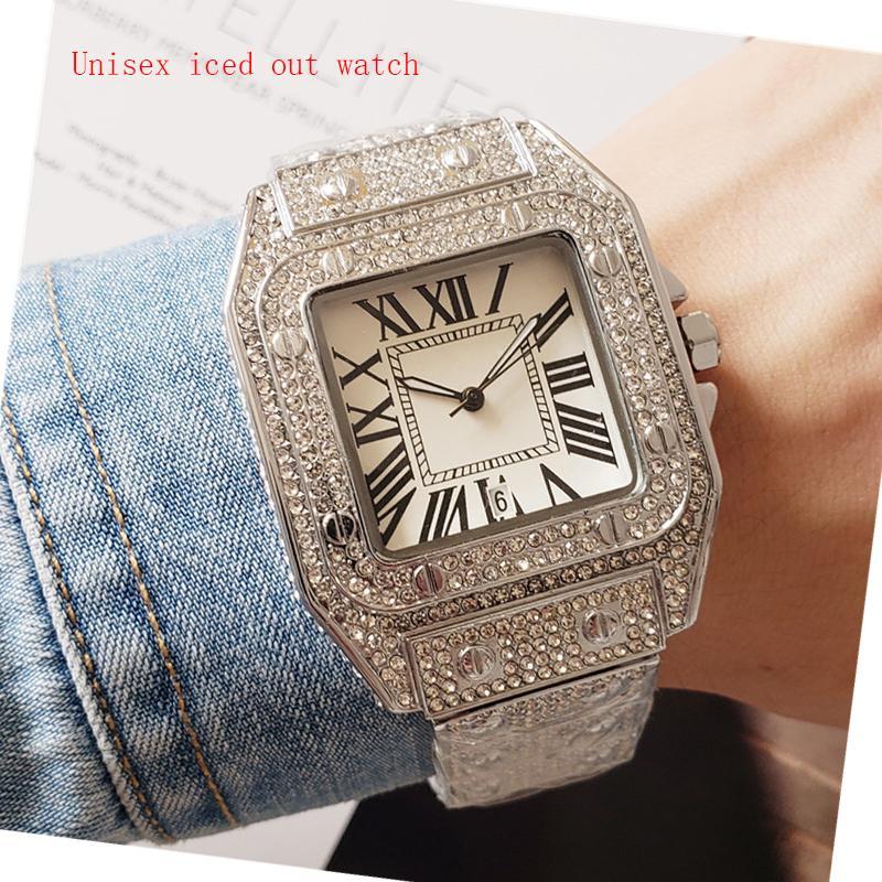 Fashoin Style Men Relojes MUJER MUJER MOVIMIENTO DE CUTIMIZAMIENTO All Diamond Iced Out Reloj de alta calidad Unisex Vestido Relojes Lady Clock Montre de Luxe