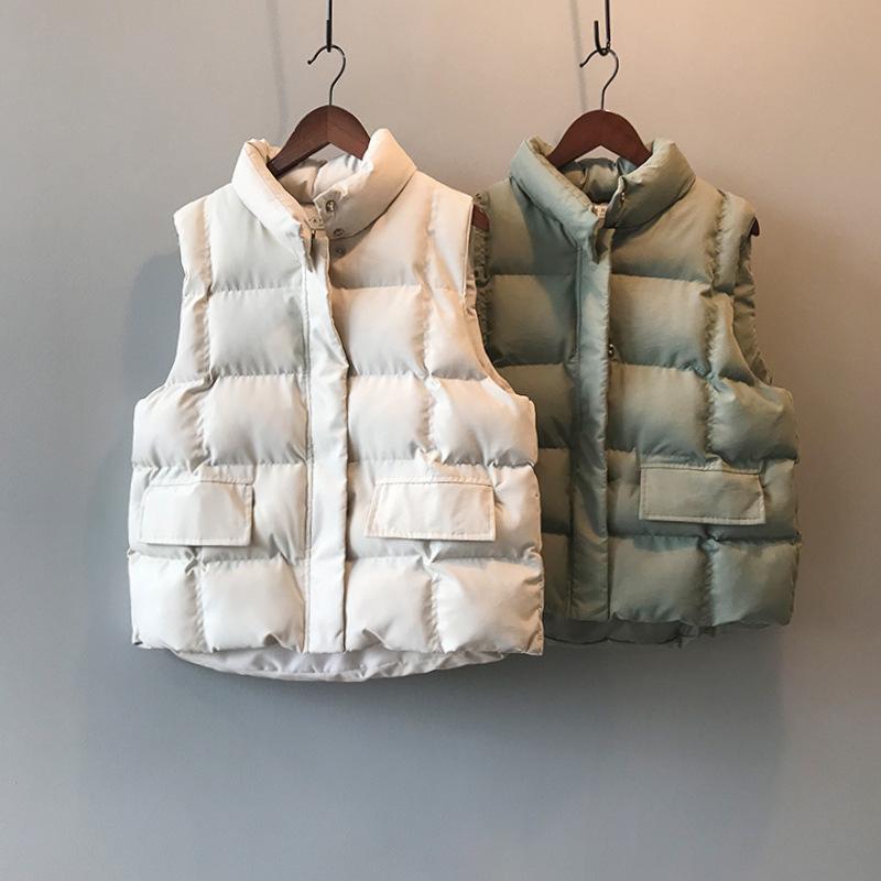 2019 Women Winter Vest Coat Stand Collar Women Chic Cotton Vest Warm Tops Vest Chaleco Mujer Gilet Casaco FemininoX1016