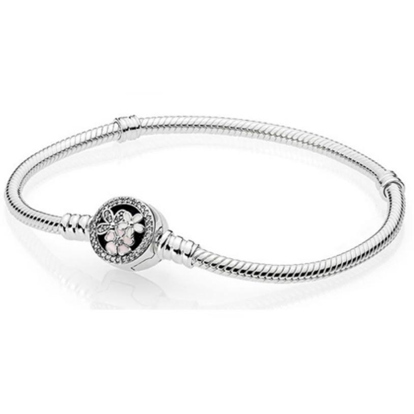 Nuevo 2021 925 Pulsera clásica de plata esterlina Oro claro CZ Encanto Bead Ajuste DIY Las pulseras de cristal Jewelry Factory Wholesale Three