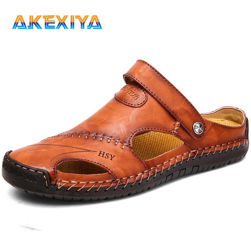 Brand Men's Sandals Summer Genuine Leather Men's Shoes Soft Comfortable Outdoor Male Beach Slippers Slip-ON Men's Sandals C0203