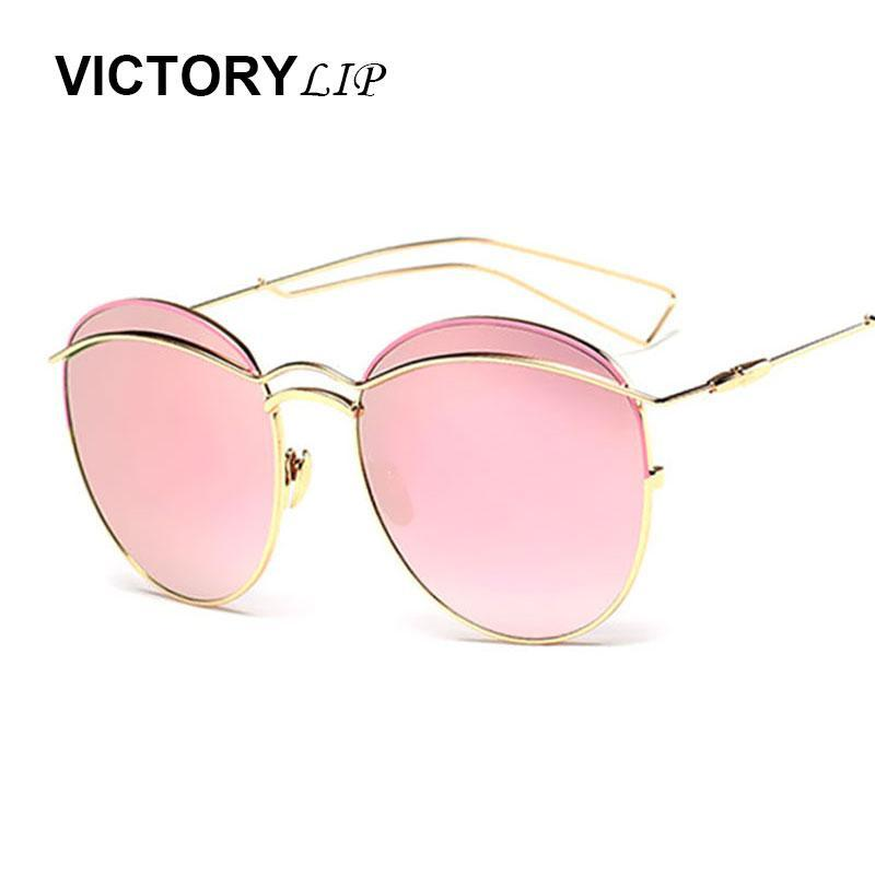Victorylip Neue 2020 Rosa Spiegel Sonnenbrille Runde Frauen Metall Marke Designer Point UV400 Dame Sonnenbrille Weibliche Hohe Qualität