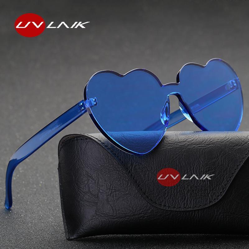 Uvlaik coração óculos de sol mulheres amam quadro claro transparente sol óculos tint vintage vintage uv400 óculos