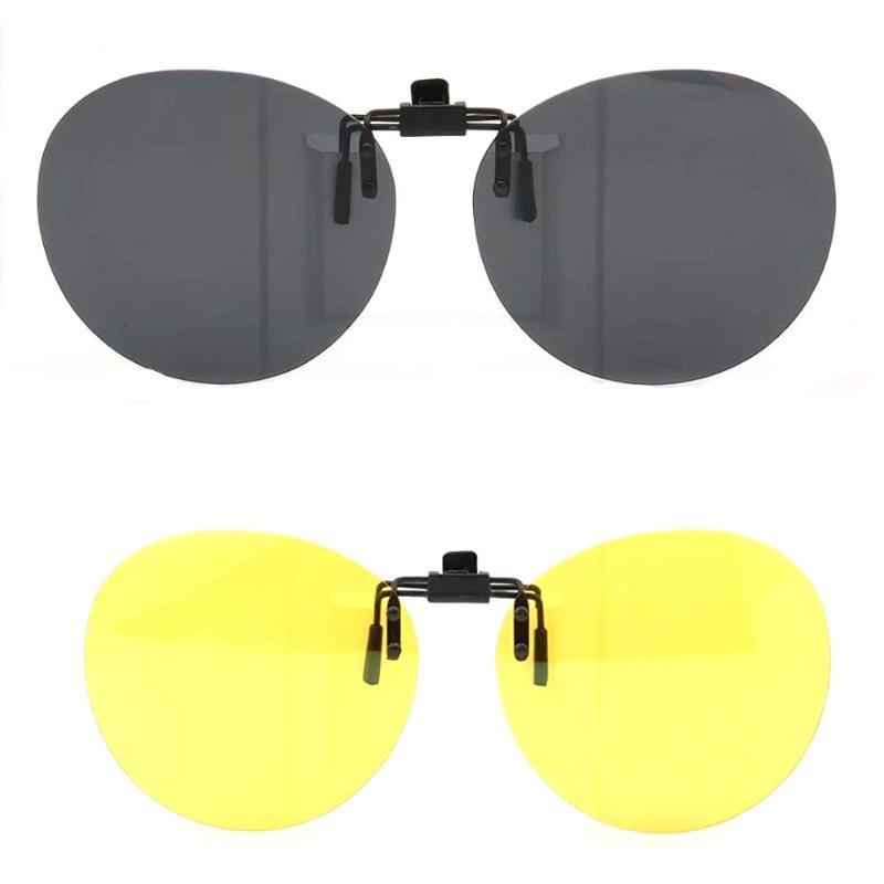 Flip Polarized Runder Clip Clip Sonnenbrille Männer Sonnenbrille Angeln Frauen Oval UV400 Fahren Mode Nachtsichtaufnahme auf den Linsen QOLGP
