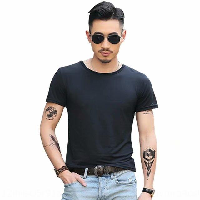 2019 nova cor sólida de manga curta t-shirt Brasão desgaste coreano em torno do pescoço de verão T-shirt top top dos homens em branco assentamento tendência dos homens magros VwCps Vw