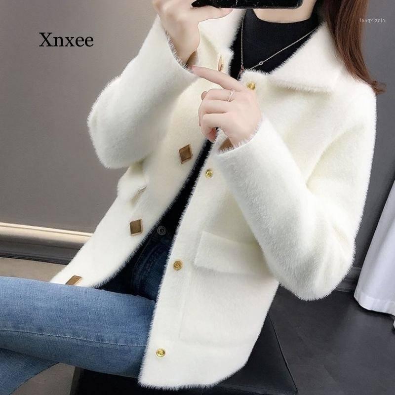 Шерстяная имитация норки бархат свободно пальто женская мода повседневная плюс размер вязаный кардиган осень зима носить новую женскую куртку1