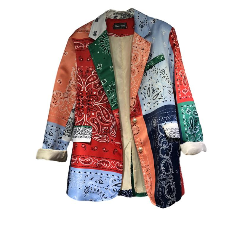 LANMREM нового цвета блок лоскутного printted ниши блейзер для женщин случайной свободные мод костюма пальто Famale одежда YJ828 201104