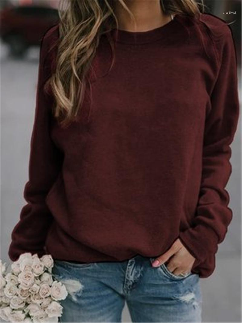Fashion Crew Neck Loose Tees Cloting Autumn New Designer Female Casual Solid Color Top Tshirt Women Long Sleeve T-shirt