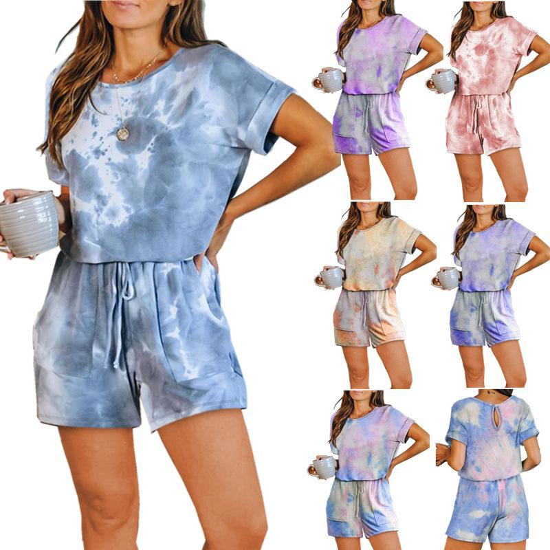 Summer Women Jumpsuit Vêtements Casual Body Cravate T-shirt T-shirt à manches courtes Courts Rompeurs Plus Taille