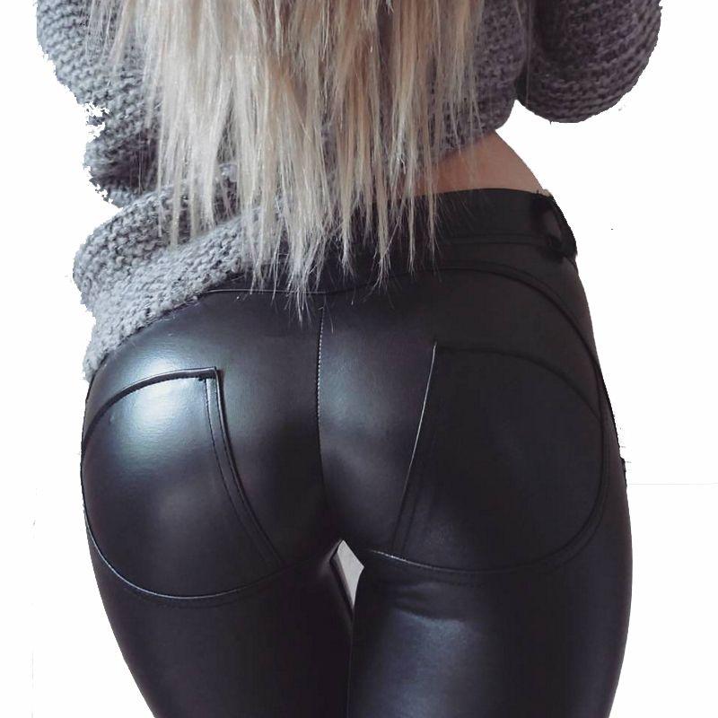 Normov Sexy Pu para Mulheres Low Tail Arts Push Up Workout Leggins Plus Size Fitness Leggings Feminina