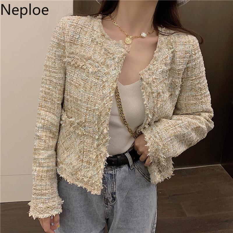 NEPLOE PEQUEÑO FRAGANCIA O Cuello Patchwork Jacket Mujeres Corea Tweed Short Veste Femme Elegante CHAQUETAS MUJER Otoño 46225 Y201012