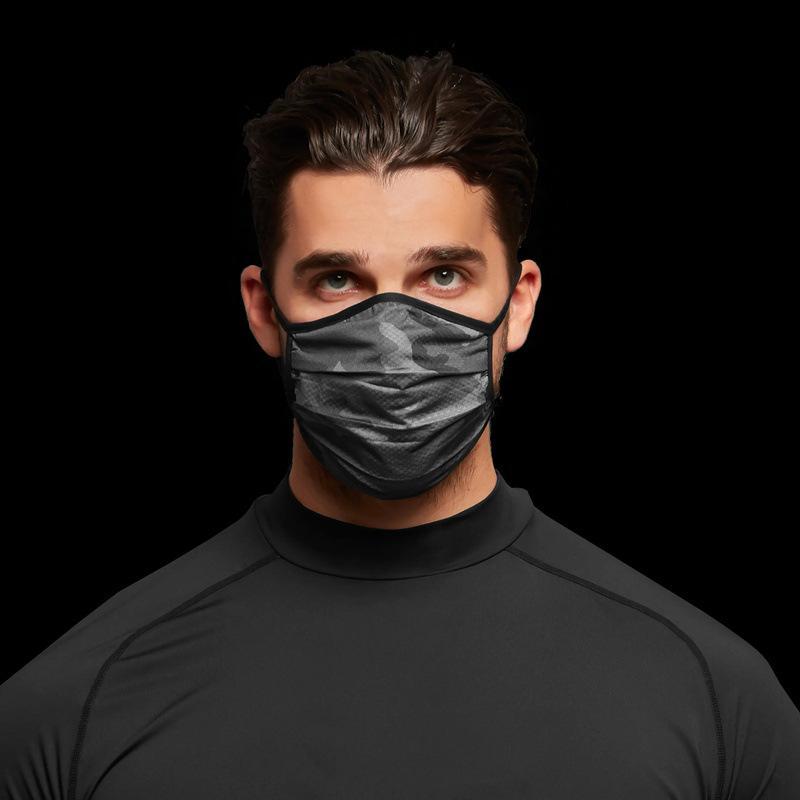 Camouflage Face Mask Fashion Traspirante Protezione antipolvere Lavabile Riutilizzabile Maschere secche rapide Unisex Maglia Maschera da ciclismo CCA12463 120PCS 25 N2