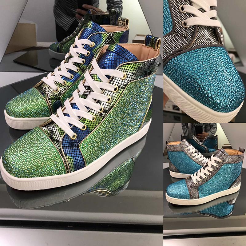 Couro Austrália Platform Mens Botas de Inverno Moda Womens Sneakers Alta Qualidade Red Hot inferior Drilling alta-top Big Size13 calçados casuais