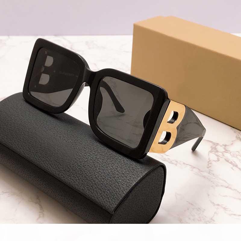 2020 NOUVELLES SAISON FEMME DESIGNER SUNGLASSES SQUACE PLAQUE Cadre Grand Double B Lettre Jambes Simple Fashion Style UV400 Verres Be4312 avec boîte