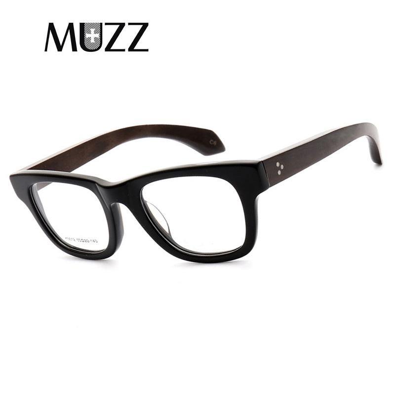 MUZZVintage Rahmen der optischen Gläser Halbrahmen aus Holz Brillen Oculos De Grau Brillen Retro Acetate optische Gläser Frames