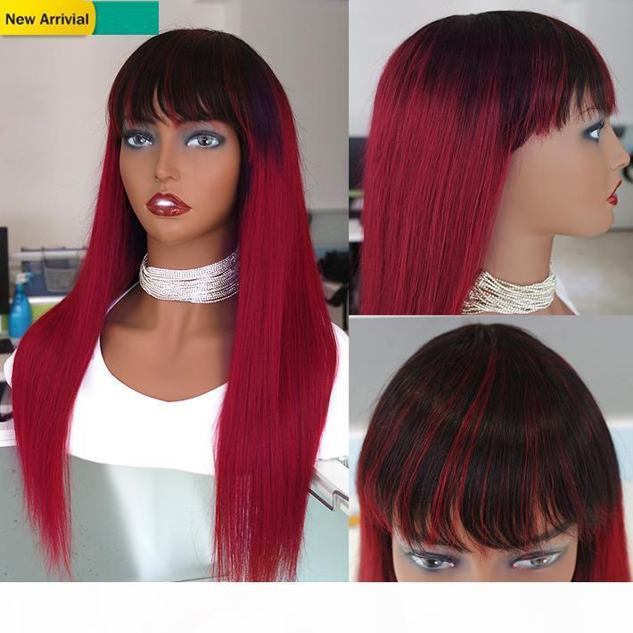 1b Borgonha Colored Wig Prejuízas Malásia Remy Reta Reta Peruca De Cabelo Natural Com Bangs 150% Vermelho Ombre Cabelo Humano Cabelo Humano Não Peruca