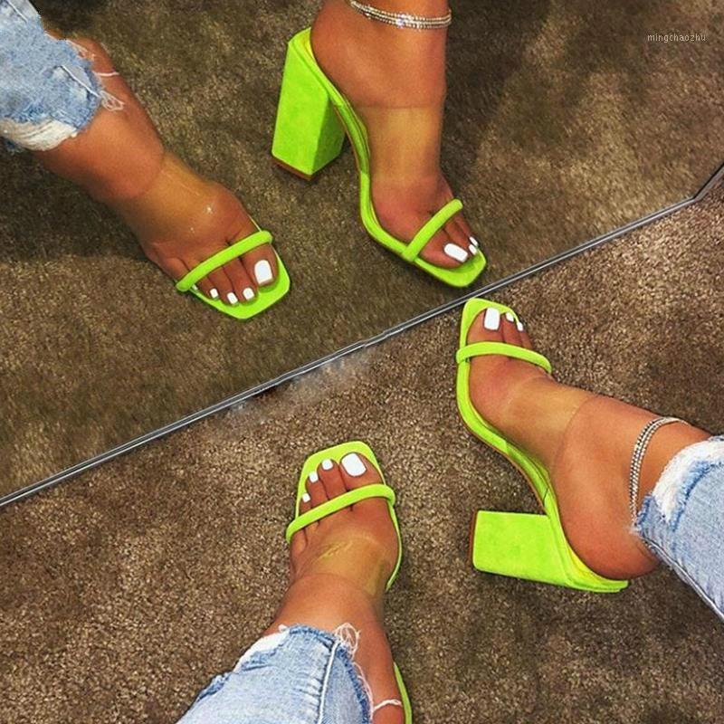 النساء الصنادل الشفافة السيدات ارتفاع كعب النعال الحلوى اللون مفتوحة أصابع كعب سميك الأزياء الإناث الشرائح الصيف الأحذية 3691