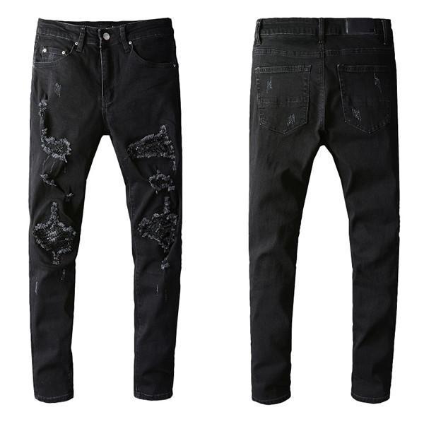 Мужские дизайнерские джинсы сплошные классические стиль промывают роскошные тонкие джинсы мотоцикла мотоцикл джинсовая мода джинсы высочайшего качества размер 29-40
