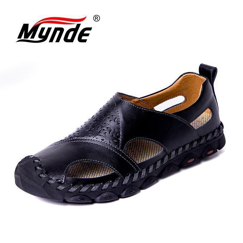 Marca de verano sandalias para hombre sandalias de cuero genuino transpirables hombres de playa más tamaño 38-48 zapatos casuales zapatos para hombres cómodos T200420