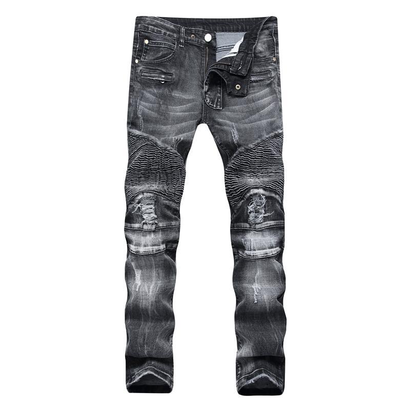 Trade Classic Retro Jeans Hommes Droite Slim Zone Zipper Décoration Lumière Plis Plongée Plongée Skinny Denim Pantalons Mode Stretch Hip Hop Jogger Jeans 201120