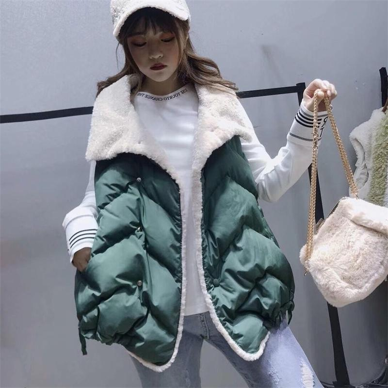 Women Winter Fall Green Loose Vest Outwear Female Hollow Cotton Beige Black Tank Tops Coat Ladies Sleeveless Jacket Windbreaker 201016