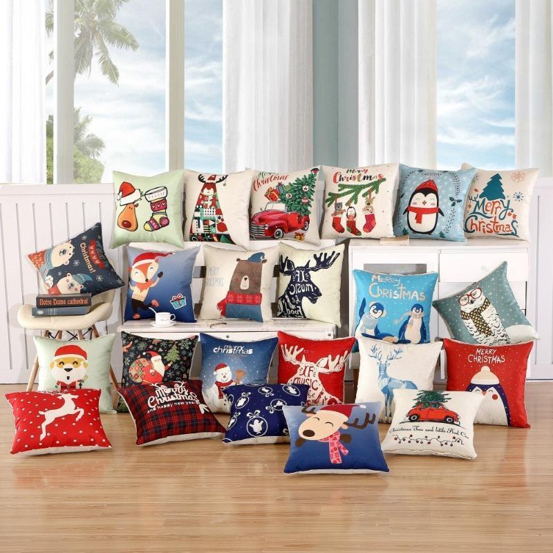 Рождественские украшения 1 шт. 45x45см Подушка для подушки Веселые для дома Мультфильм Лолть Льняные декоративные подушки подушки