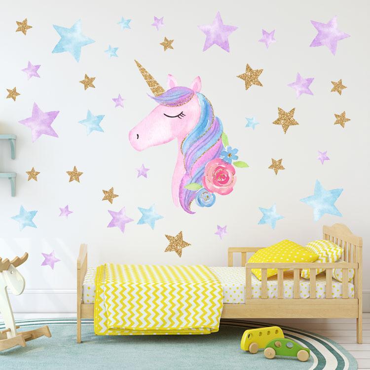 Declaraciones de pared de unicornio Etiqueta engomada de la pared Unicornio Decoración de la decoración de los colores del arco iris Vinilos de la pared Cumpleaños Regalos de Navidad para niños para niños Decoración de dormitorio para niños Ewa2046