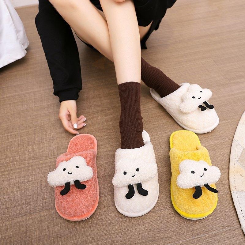 KayVI peluche chaud thermique Les femmes pantoufles slippersSlipperscotton 2020 nouvelle maison Baotou semi-remorque occasionnel à fond plat et l'usure pantoufle de bande dessinée