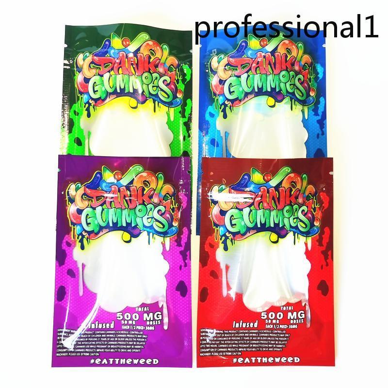 New Dank Gummies Mylar Bag Edibles Packaging di vendita al dettaglio 4 Stili Borse a prova di odore Zipper Mylar Borse Asciughi Pacchetto Flower Herb