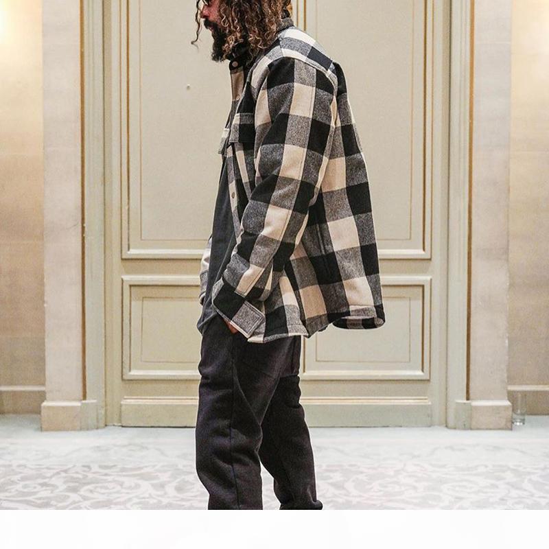 Nebbia Paura di God CheckerBoard Camicia Giacca Nebbia Camicia completamente foderata Giacche Casual Camicie oversize Casual Capispalla HARAJUKU Hip Hop Streetwear