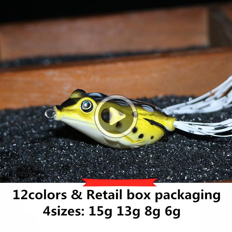 039M Hot Rubber frog Drag Popper bait 6g 8g 13g 15g Topwater floating Swimming Hollow Body Soft Artificial Lure