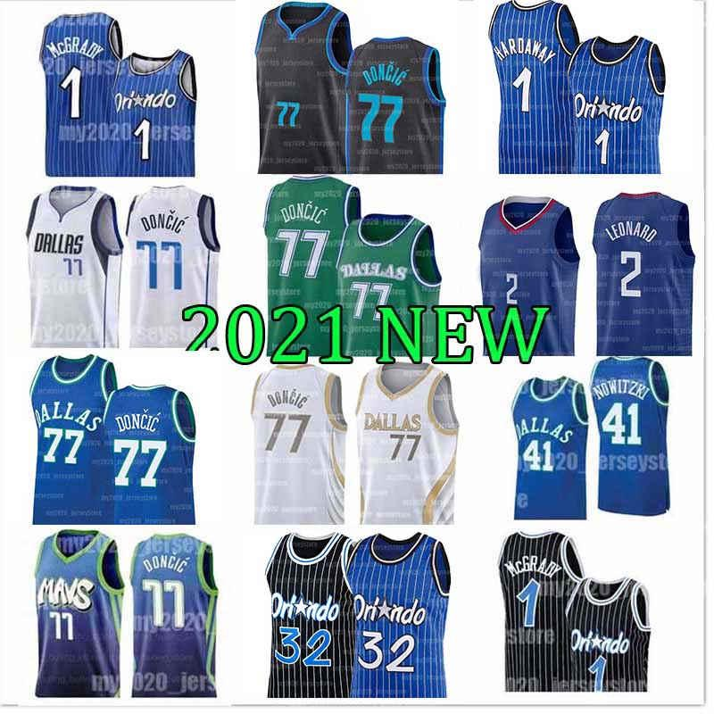 77 Doncic كرة السلة الفانيلة Luka Tracy Penny 1 Hardaway McGrady Dirk 41 Nowitzki Retro Blue Black 20 21 Men Jersey 2021